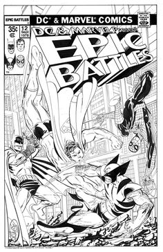 Batman & Superman Vs Wolverine & Spider-Man commission by John Byrne. 2013. John included the request by the customer: 11x17 Comission of an imaginary Marvel and DC crossover comic featuring Batman and Superman vs. Spider-Man and Wolverine. Please...