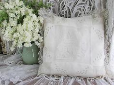 Very Fine French Antique Baby Lace Linen Pillow Rabbit Filet Deer Dog   eBay Vintageblessings