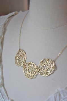 Statement Necklace Gold Necklace Bridesmaid by AvaHopeDesigns, $33.00