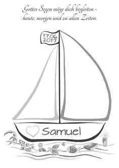 Das **Fingerabdruck Segelboot** ist eine tolle Alternative zum Gästebuch für die **Taufe**. Jeder Gast hinterlässt hierauf seinen farbigen Fingerabdruck und Unterschrift. Das Taufboot wird von...