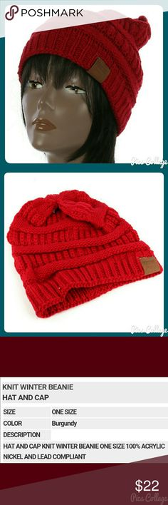 Burgundy Knit Beanie Acrylic knit winter beanie in dark red/burgundy. 2nd pic just shows the style. One size fits most. Jewely's Justifiables Accessories Hats