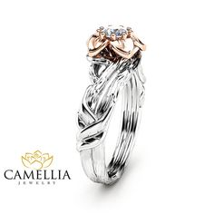Natural Diamond Flower Engagement Ring in 14K by CamelliaJewelry