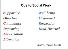 Ode to social work
