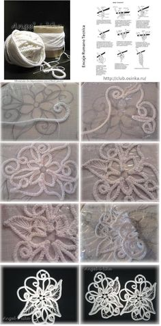 As make-Wall Drawings with Cordoncillo Crochet <sub> Romanian Lace </ sub> - enrHedando Crochet Cord, Freeform Crochet, Crochet Motif, Irish Crochet, Crochet Designs, Crochet Flowers, Crochet Lace, Crochet Stitches, Knitting Designs