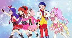 Aira, Mia, Naru, Laala, and some random guy - Pretty Rhythm/PriPara