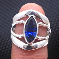 Faceted Nano Sapphire Marquise Gemstone Adorable Ring - 925 Sterling Silver Jewelry Handmade Designer Ring Jewelry Size US 7 - by arishakreation on Etsy Handmade Silver, Handmade Jewelry, Sterling Silver Jewelry, 925 Silver, Silver Ring, Charm Rings, Pretty Rings, Stylish Jewelry, Jewelry Design