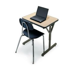 """24""""D x 27""""W x 22""""-30""""H Flex Desk - Golden Oak Top/Black Edge/Black Frame by Smith System. $156.87. One-Student Flex Desks have an oversized work surface that accommodates laptop computers for project learning environments. Add two optional casters for wheelbarrow mobility or four for full mobility; either way, the Flex Desk moves easily as you need it.::The high-pressure laminate surface of the desk resists damage, and is ringed by a tough 3/8"""" thick bumper edge. The d..."""
