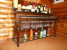 Piano Repurposed as a Bar Furniture Makeover, Diy Furniture, Music Furniture, Repurposed Furniture, Painted Furniture, Painted Pianos, Old Pianos, Piano Bar, Upright Piano