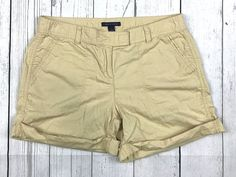 Tommy Hilfiger womens 4 beige tan rolled cuffed flat front casual shorts *as is* #TommyHilfiger #CasualShorts