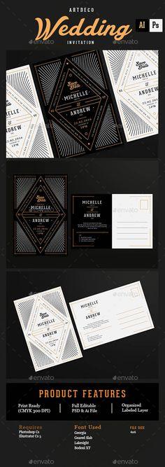Art Deco Wedding Invitation/Card 14239365