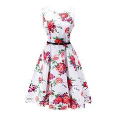 #Spring #AdoreWe #RoseGal - #Rosewholesale 2018 Summer Vintage Dresses Print Floral A Line O Neck 1950s Style Elegant Party Dress - AdoreWe.com