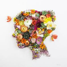"""Flower Prints"" - Intricate Portraits Out Of Mother Nature Art Floral, Arte Pop, Art Plastique, Flower Petals, Love Art, Flower Prints, Unique Art, Art Projects, Creations"
