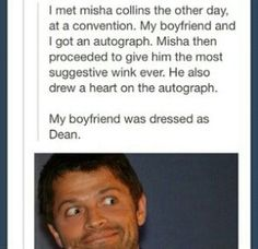(Other person said)Misha is awesome! This couple is so lucky! and this made me laugh entirely too much! lol even though I don't ship Destiel-I don't ship Destiel either but this is funny