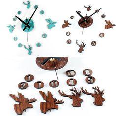 3D DIY Wall Clock Retro Faux-wooden Cute Deer Noiseless Home Decor Sticker New