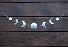 Moon Wall hanging - Silver Moon Phases Wall Decor - Silver Moon Garland - Lunar - Moon Wall Art - Moon Child -Horizontal or Vertical Hanging Wall Hanging Lights, Lunar Moon, Steel Wall, Moon Phases, Moon Child, Colorful Decor, Wall Colors, Garland, Wall Decor