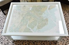 Coffee Table Nautical Chart {Porch Projects}