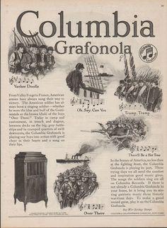 1918 Columbia Grafonola Graphophone Phonograph Military Patriotic Music Ad