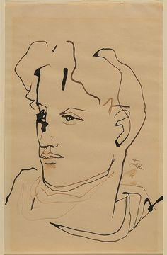 """lottereinigerforever: """" Jean Cocteau autoportrait """""""