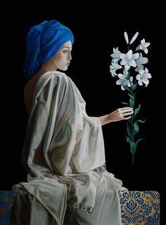 "Slava Fokk""White Lily""-oil on canvas,gold leaf-2015"