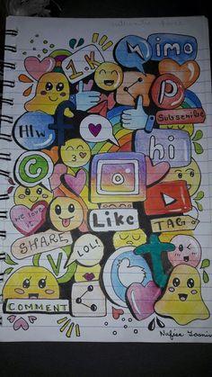 31 Ideas for doodle art ideas draw zentangle patterns Emoji Drawings, Cute Disney Drawings, Pencil Art Drawings, Cool Art Drawings, Kawaii Drawings, Art Drawings Sketches, Cute Doodle Art, Doodle Art Designs, Doodle Art Drawing