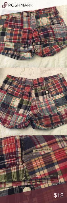 Ralph Lauren madras Plaid shorts Denim and Supply Lauren shorts with cuff at bottom back pocket. Plaid classic Rslph Lauren denim and supply Shorts