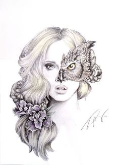 this illustration is beautiful! and could be redone by using a females facial/ portrait area and have her lips coloured red, use half the face of an animal, use the rose within her hair Illustration Manga, Illustrations, Portrait Illustration, Et Tattoo, Tattoo Wolf, Kunst Tattoos, Gcse Art, Art Design, Art Inspo
