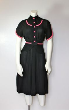 Vintage 1940s Rayon Dress With Pink Trim Peplum by DearJohnVintage, $108.00
