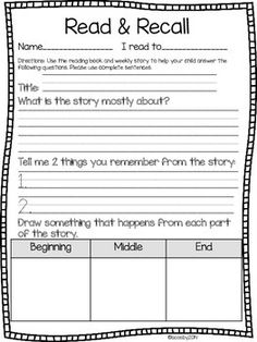 I created a simple homework page for my first graders to take home and use to help with comprehension using our reading series. Students are asked to write/identify the title,identify the main idea of the story, recall 2 details from the story, and draw something that happened in the beginning, middle, and end of the story.