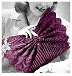 Vintage 1940s Fan Shape Purse Crochet Pattern Clutch Handbag PDF Treasury Item