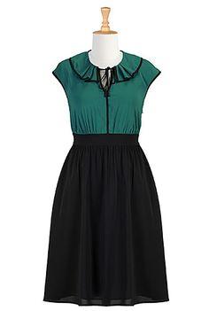 #eShakti Pleat collar two tone crepe dress