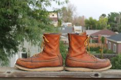 Vtg. RED WING MENS Work Boots / Lacer CREPE SOLES size 10 D #RedWing #WorkSafety