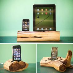 Cedar wood iPhone, iPod, and iPad docking stations.