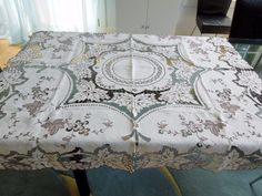 """ITALIAN Linen Tablecloth Hand Embroidery Cutwork Ecru Brown Vine Leaves Grapes - $125.00. Absolutely gorgeous Vintage Italian Linen Tablecloth with Embroidery and Hand Drawnwork. Decorated with Wine Leaves and Grapes on the Ecru Background and with Brown Detailing.Unique! Extraordinary quality not found any longer! Great for your home, as a gift, for a collector of antique and vintage linens and laces, seamstress! Size: 50"""" x 50""""Condition: excellent. It has been in the storage and h..."""