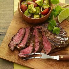 A bold marinade featuring the classic Tex-Mex flavor combination of cilantro and lime is well suited to rich flavorful skirt steak. Serve with a lively Avocado Chopped Salad to provide a refreshing balance.