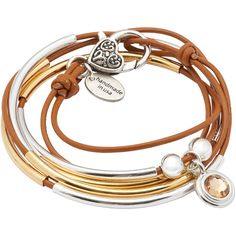Lizzy James Girlfriend Wrap Bracelet w Champagne Crystal Charm in... ($70) ❤ liked on Polyvore featuring jewelry, bracelets, gold charms, gold wrap bracelet, silver jewelry, crystal charms and crystal jewelry