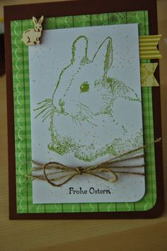 handcrafted Easter card from Bastelabend bei Petra ... luv the bunny image stamped in green ...