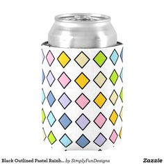 Black Outlined Pastel Rainbow Diamonds Can Cooler