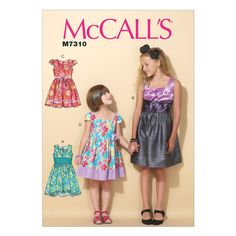 McCall's 7310 Sewing Pattern Childs/Girls' Pleated, Square-Neckline Dresses (3-14)