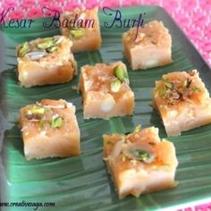 An indian sweet fudge recipe with almonds.