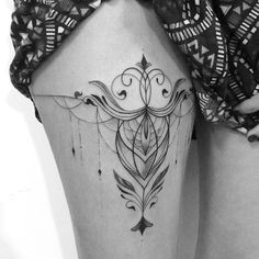 "Artist: Gabriela arzabe A totally COOL ""Garter""-like version of a tat with class, style and is so very gorgeous &,OOO WANT &"