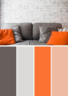 74 beautiful bedroom color schemes ideas that look so amazed 70 Orange Color Combinations, Orange Color Schemes, Orange Palette, Orange Color Palettes, Colour Combinations Interior, Grey And Orange Living Room, Orange Rooms, Bedroom Orange, Bedroom Colors