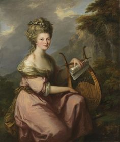 """Portrait of Mrs. Bates (née Harrop) as Erato, the muse of lyric poetry, (ca. 1780-81). Angela Kauffman (1741-1807). Oil on canvas. Princeton University Art Museum. Singer Sarah Bates (née Harrop, died 1811) studied Italian music under Sacchini, and the compositions of Handel and the older masters under her future husband, conductor Joah Bates. She was a successful concert singer. She sang sacred music, which she delivered impressively. Among her secular songs was Purcell's """"Mad Bess."""""""
