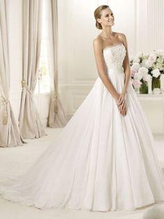 Satin Chiffon Strapless Ball Gown Ruffle Wedding Dress at Millybridal.com
