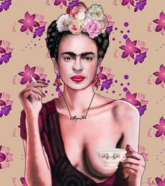 Frida Kahlo Artwork, Kahlo Paintings, Frida Art, Diego Rivera, Cafe Logo, Frida And Diego, Hummingbird Art, Collaborative Art, Canvas Art Prints