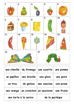 La chenille - match up words french