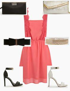 Vestido de Suite blanco, con accesorios en negro o en blanco. #LHM137Dia #fashion #lowcost  http://cuchurutu.blogspot.com.es/2014/05/complementos-de-boda-lowcost.html