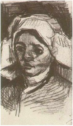 Vincent van Gogh Drawing, Pencil Nuenen: December - January , 1884 - 85 Van Gogh Museum Amsterdam, The Netherlands, Europe F: None, JH: 568 Image Only - Van Gogh: Peasant Woman, Head