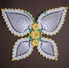 Crochet Pineapple Butterfly Pattern | ... barely see the butterfly's body (it is black-can you see it in there