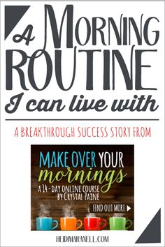 Do you have a morning routine? One you can live with? Crystal Paine of Money Saving Mom has a 14-day online course to help you makeover your mornings. Read how this course has changed my mornings to a routine I can actually live with!