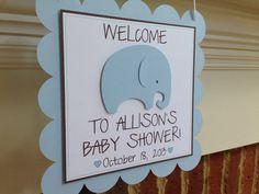 BABY SHOWER Decor Welcome Door Sign ELEPHANT Blue & Brown Boy